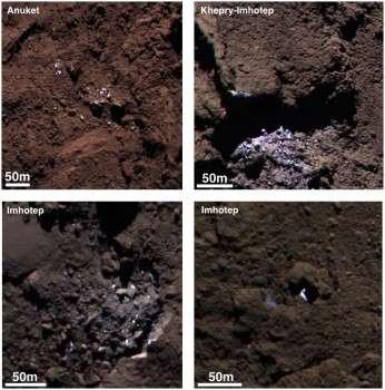 Plusieurs plaques de glace ont été identifiées par contraste avec la surface sur ces images en fausses couleurs réalisées avec la caméra Osiris, les 5 et 16 septembre 2014. Elles se situent dans les régions d'Anuket, d'Imhotep et de Khepry-Imhotep. © Esa, Rosetta, MPS pour Osiris, MPS, UPD, LAM, IAA, SSO, INTA, UPM, DASP, IDA