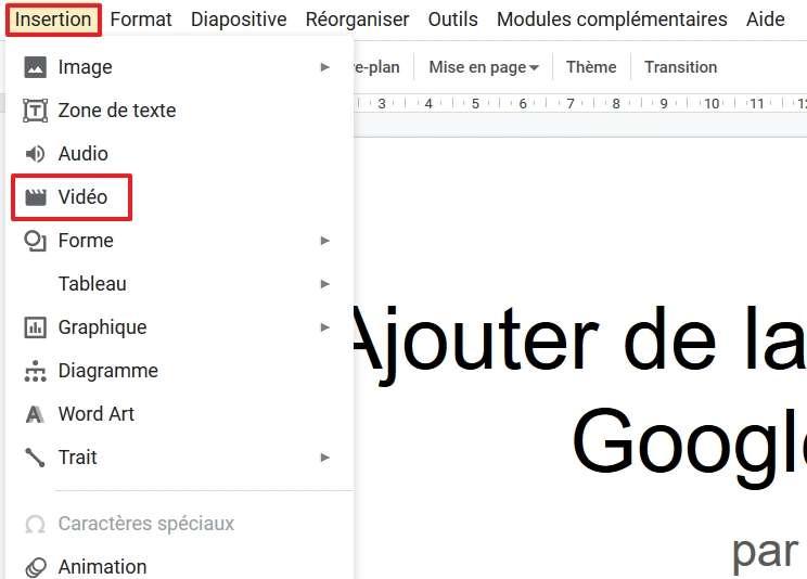 Cliquez sur « Insertion », puis sur « Vidéo ». © Google Inc.