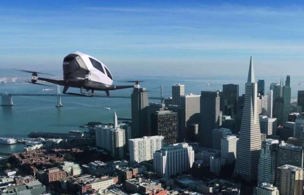 Non content de bouleverser le transport terrestre avec son service de VTC, Uber pense pouvoir appliquer son modèle dans les airs, en utilisant des drones autonomes. Alors, bientôt des taxis volants ? © Ehang