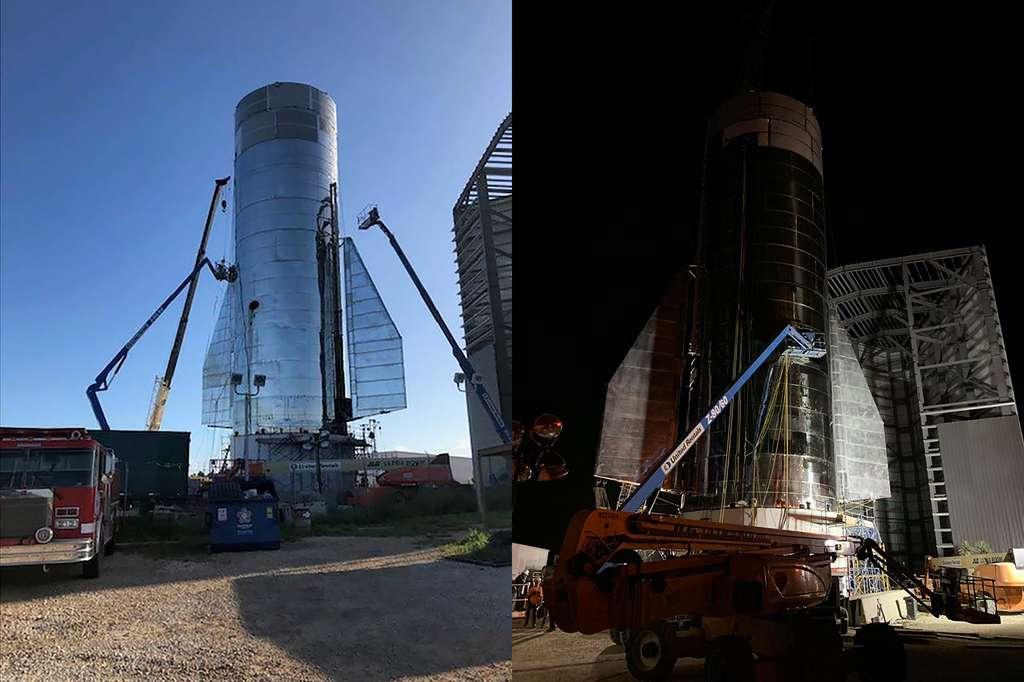À Boca Chica, assemblage du MK1, un des deux prototypes du futur lanceur Starship de SpaceX. Sur la partie inférieure du MK1, on peut voir les ailerons arrière qui contrôleront la stabilité en vol du prototype. © SpaceX, Elon Musk