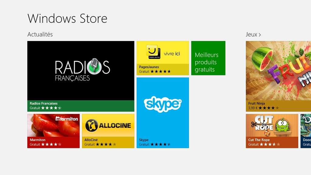 Élément clé de Windows 8, le Windows Store permet de télécharger de nouvelles applications et des logiciels pour votre ordinateur et votre tablette. Un compte Microsoft est obligatoire pour y accéder. © Eureka Presse
