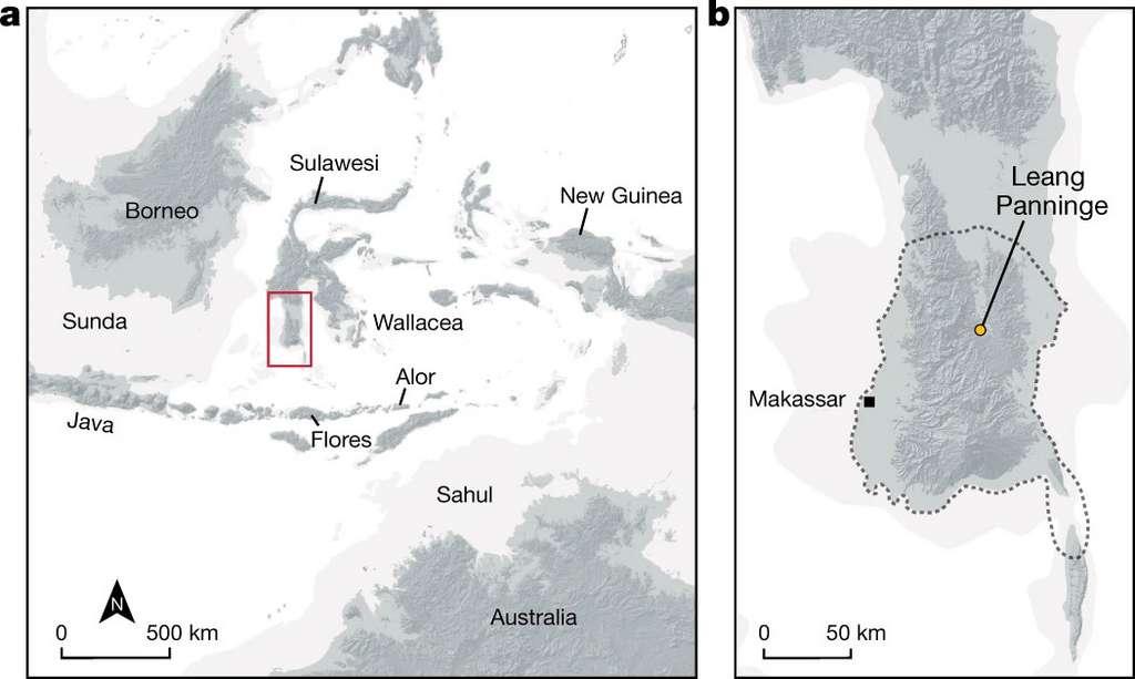 Géographie de la zone indonésienne dans lesquelle une hybridation entre l'Homme moderne et celui de Denisova a probablement eu lieu. © Carlhoff et al, 2021