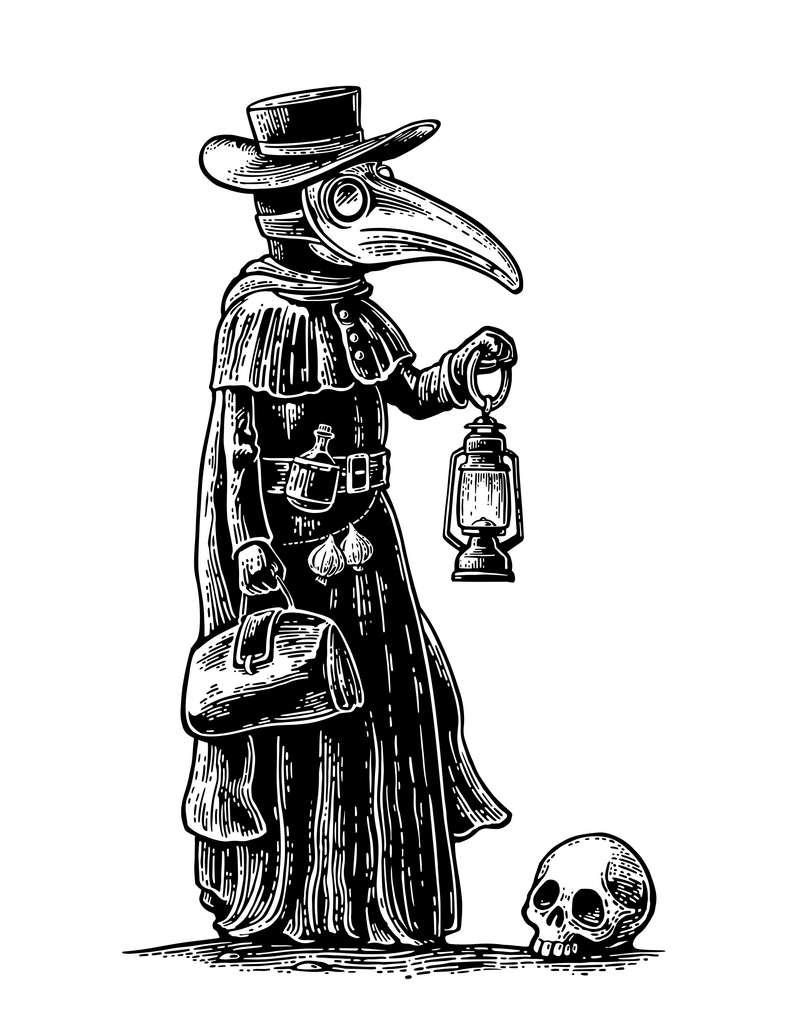 Caricature d'un médecin pendant une épidémie de peste. L'utilisation effective de cette tenue par les médecins est néanmoins incertaine. © MoreVector, Adobe Stock