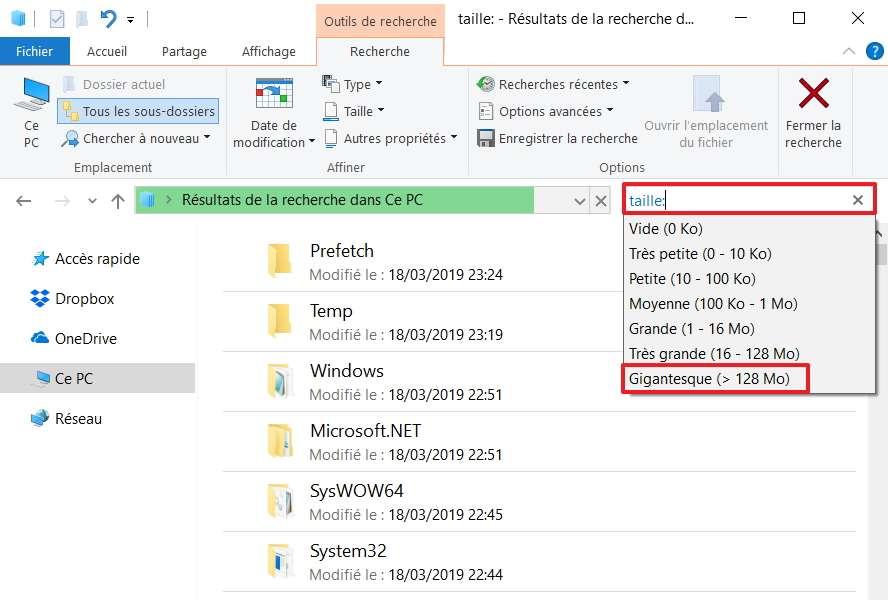 Saisissez la commande «taille :» dans le champ de recherche. © Microsoft