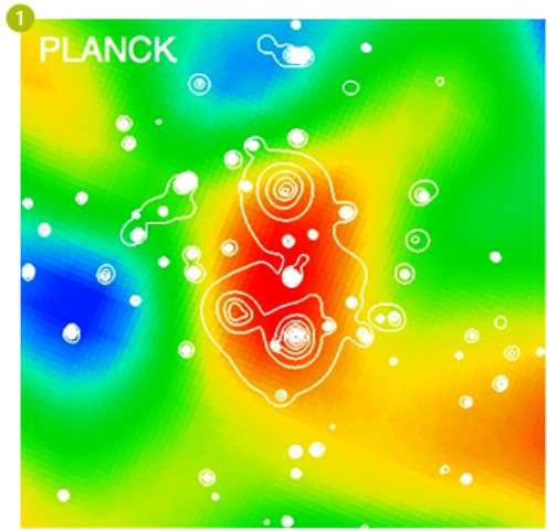 Sur cette image composite multifréquences, on voit le super-amas de galaxies découvert par Planck (la couleur rouge signifiant un excès d'émission dû à l'effet Sunyaev-Zel'dovich dans le domaine des ondes submillimétriques). La taille de l'image est d'environ 15 x 15 minutes d'arc sur le ciel, la moitié de la taille de la Lune. © ESA, Planck HFI LFI consortia, XMM-Newton