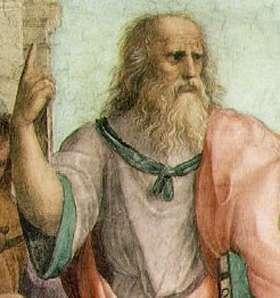 Platon, détail de la fresque L'École d'Athènes du peintre italien Raphaël. Dans son dialogue intitulé Ménon, écrit dans la première moitié du IVe siècle avant notre ère, Platon donne ce qui est pour nous la plus ancienne démonstration du fait que le rapport de la diagonale au côté d'un carré est égal à √2.