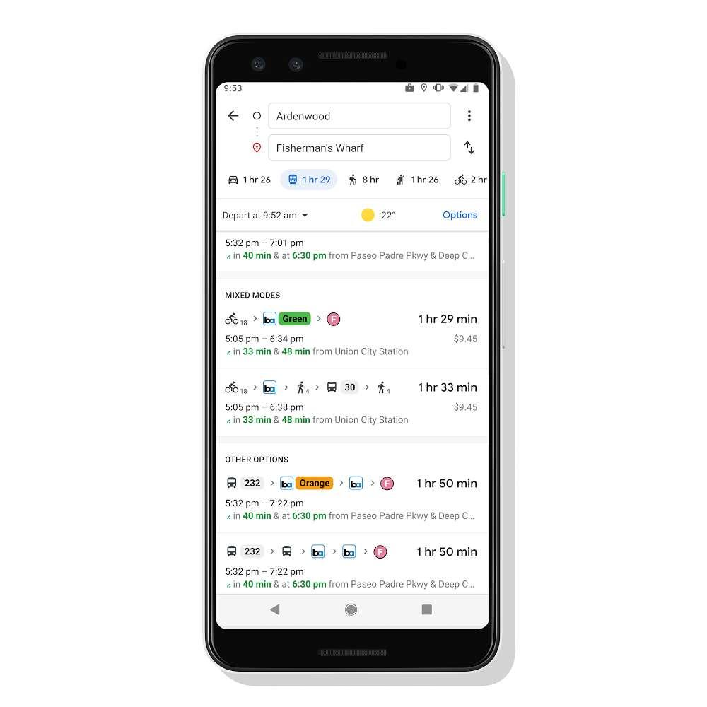 Il faudra accéder à l'option « Mixed Modes » pour afficher les trajets avec une partie en covoiturage ou à vélo en libre-service. © Google
