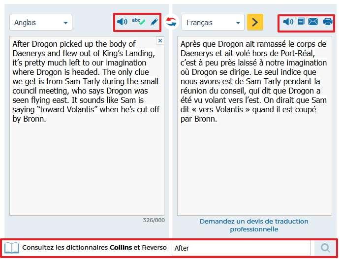 Reverso offre la possibilité d'imprimer directement la traduction. © Reverso-Softissimo