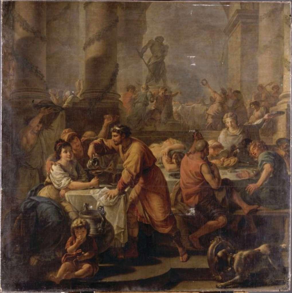 Tableau d'Antoine-François Callet représentant des Romains réunis pendant les grandes fêtes des Saturnales. © RMN-Grand Palais (domaine de Compiègne), Franck Raux