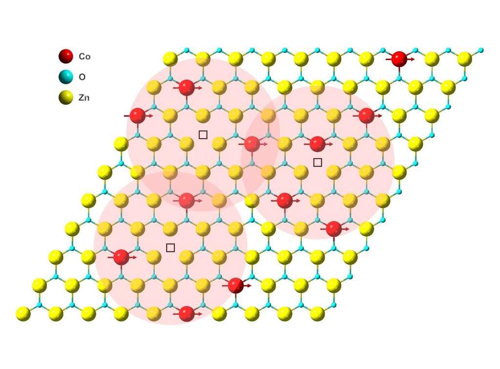 L'aimant est constitué d'une monocouche d'oxyde de zinc (en jaune) dopée avec des atomes de cobalt (en rouge). © Berkeley Lab
