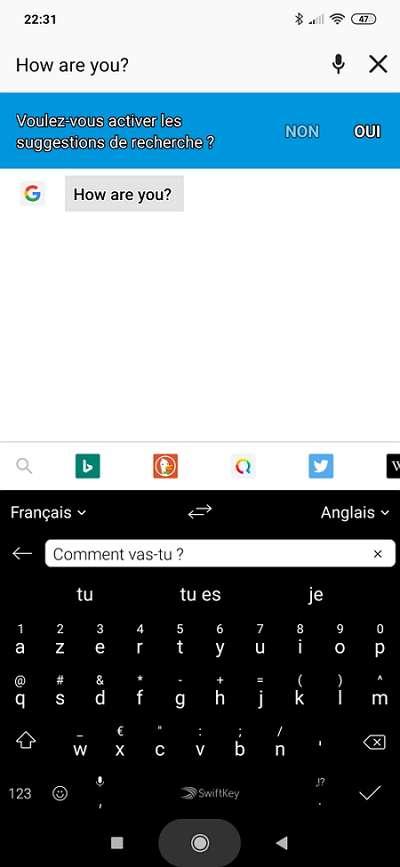 Swiftkey se sert de Bing Translator pour traduire immédiatement votre texte dans la langue de votre choix. © Microsoft