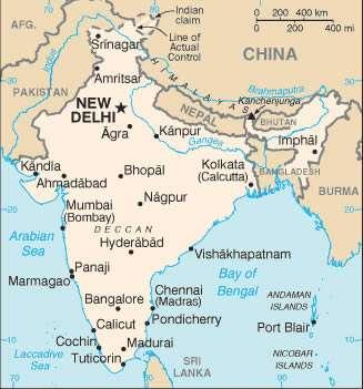 Carte pour vous repérer avant votre voyage en Inde, avec les principales villes. New Delhi, la capitale, est construite à partir de 1913. © DP