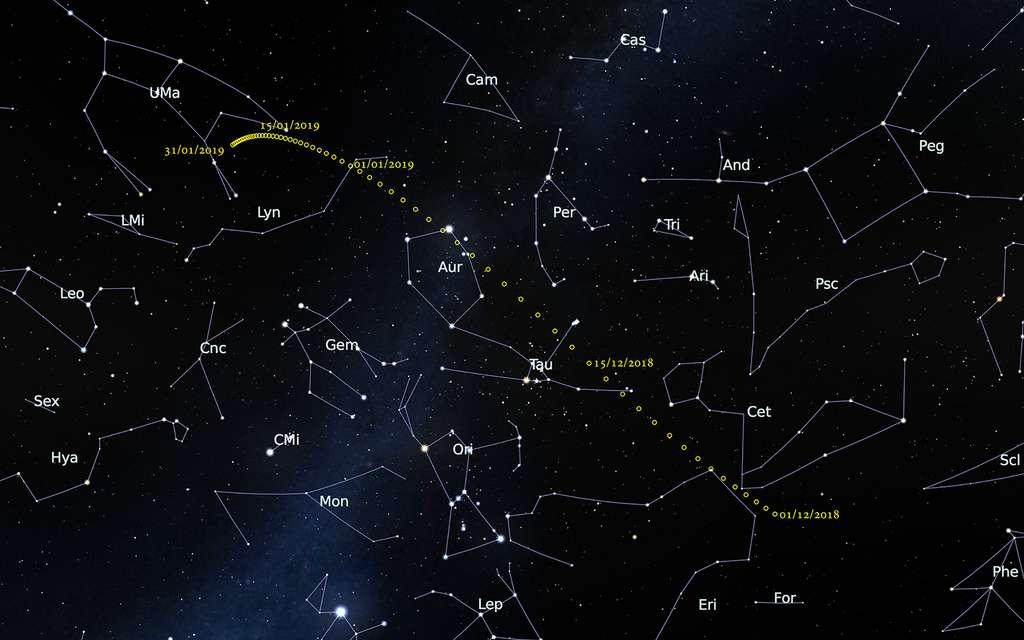 Itinéraire de 46P/Wirtanen dans le ciel de décembre. Le 12 décembre, la comète est aux portes du Taureau. Le 16 décembre, elle passe entre les Hyades et les Pléiades. Un spectacle à ne pas manquer ! © Observatoire de Paris, IMCCE