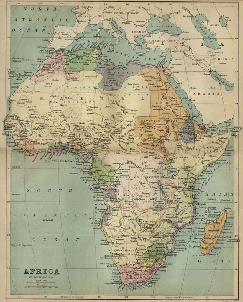 Carte de l'Afrique en 1884 par J. Bartholomew. © Wikimedia Commons, domaine public.
