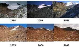 Cliquer pour agrandir. Evolution du glacier de Chacaltaya entre 1994 et 2009. © IRD-B. Francou (1994-2005), IRD P. Ginot (2006-2009)
