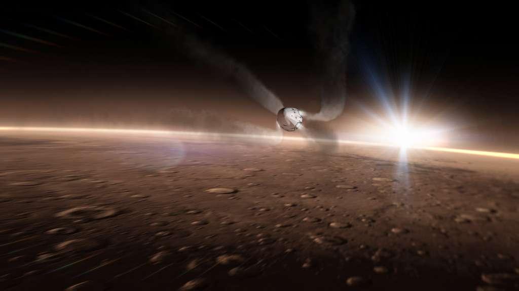 Pour atterrir sur Mars, la capsule Red Dragon utilisera une technique semblable à celle mise en œuvre pour récupérer les étages principaux des lanceurs Falcon 9 de SpaceX. © SpaceX