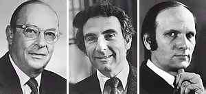 John Bardeen, Leon Cooper et Schrieffer J. Robert, prix Nobel 1972 pour leur théorie BCS de la supraconductivité. Crédit : Warwick University