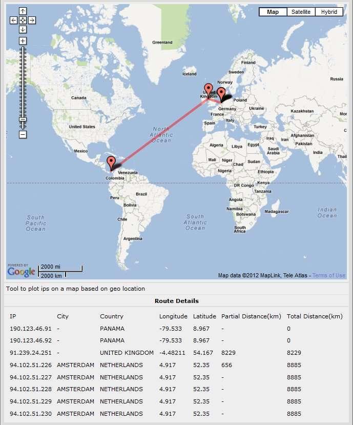 Le jeu de piste d'Atif Mushtaq pour repérer les serveurs du botnet Grum. Le 9 juillet, il découvre plusieurs ordinateurs infectés, dont deux serveurs maîtres au Panama et six serveurs secondaires aux Pays-Bas. © Atif Mushtaq, FireEye