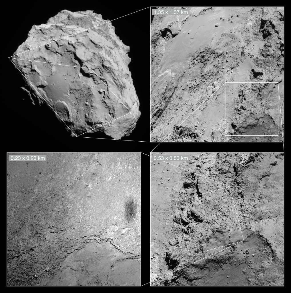 La région photographiée par la caméra Osiris de Rosetta (en bas à droite) est resituée dans son contexte géographique sur les trois autres miniatures acquises également le 14 février par la caméra de navigation (NavCam). Sur la vue d'ensemble de la comète, en haut à gauche, on peut distinguer le « ventre » du grand lobe, une région appelée Imhotep. L'ombre de la sonde spatiale sur la surface de l'astre a été « immortalisée » à la frontière entre cette zone et celle baptisée Ash. © Esa, Rosetta, NavCam, CC by-sa igo 3.0, MPS for Osiris Team, MPS, UPD, Lam, IAA, SSO, Inta, UPM, DASP, Ida