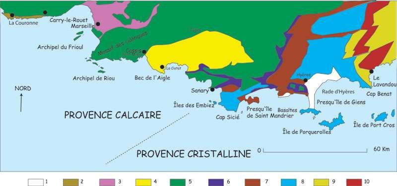 Figure 2. Les différentes roches de la côte méditerranéenne, de Marseille au Lavandou, en passant par Porquerolles et l'Estérel. © J. Collina-Girard
