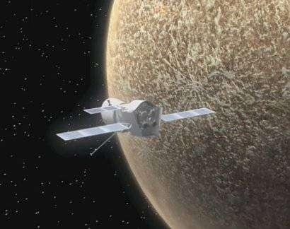 BepiColombo en orbite autour de Mercure, avant séparation (vue d'artiste). Crédit ESA.