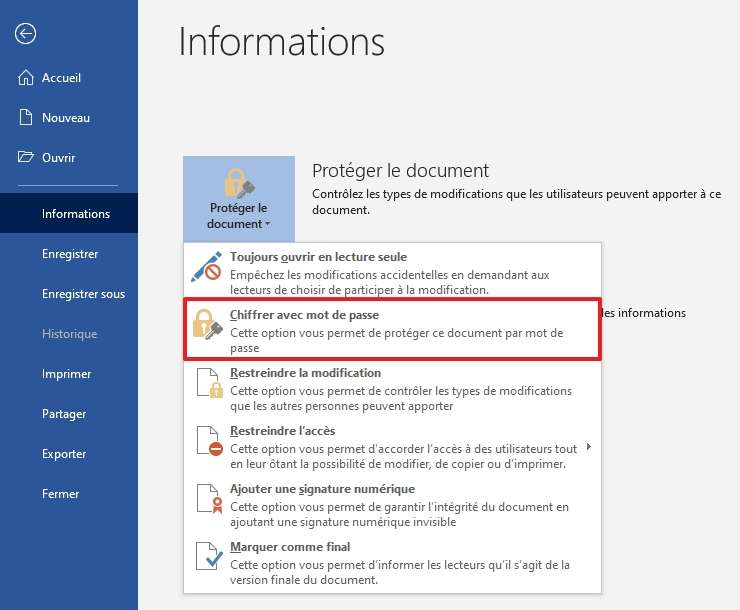 Protégez votre document Word avec un mot de passe. © Microsoft