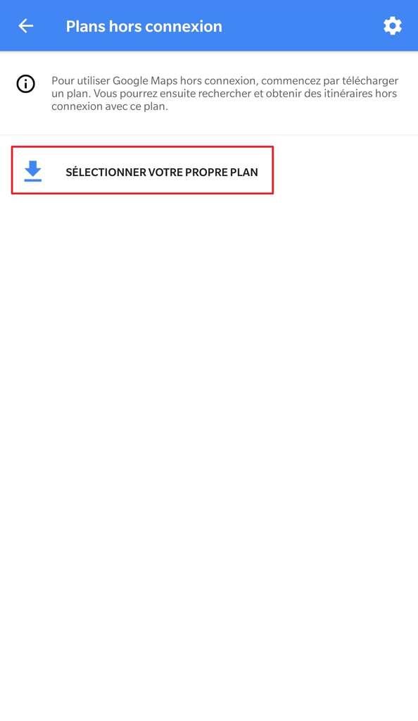 Menu des plans hors connexion – sélection d'un plan. © Google Maps