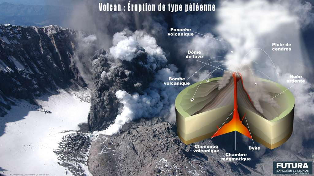 Le schéma d'une éruption péléenne avec ses caractéristiques. © Sémhur, CC by-sa 3.0
