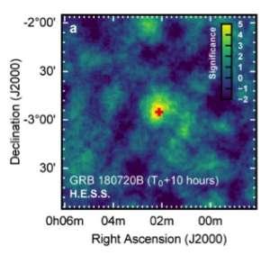 Un des sursauts gamma de très haute énergie, tels que vus par le réseau de télescopes HESS. La croix rouge indique la position du sursaut, déterminée à partir des mesures en optique. © Abdalla et al., HESS Collaboration