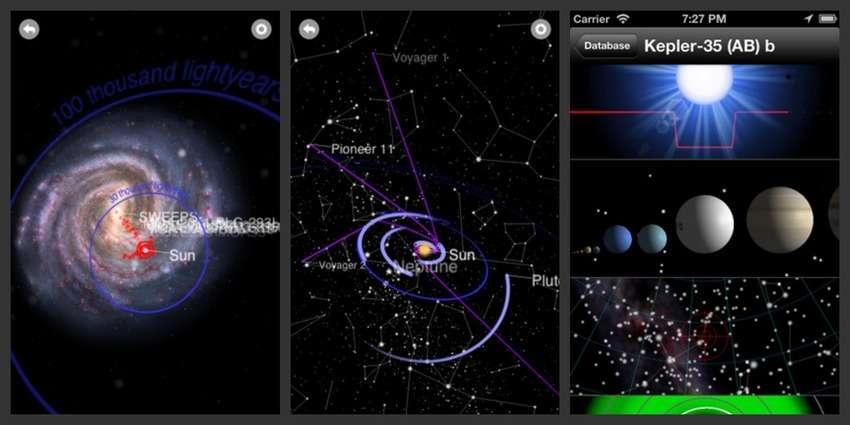 Capture d'écrans de l'app Exoplanet. Découvrez les systèmes extrasolaires qui nous entourent. © Hanno Rein