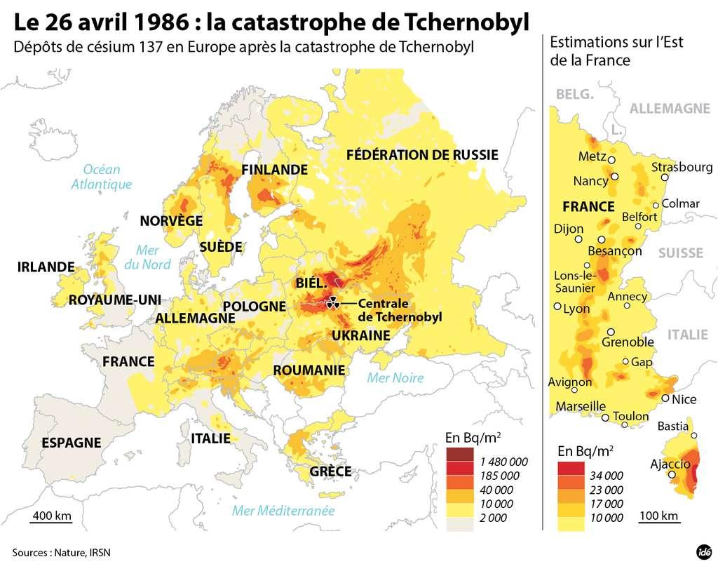 Les mesures de radioactivité due au césium 137 après la catastrophe de Tchernobyl. © Idé