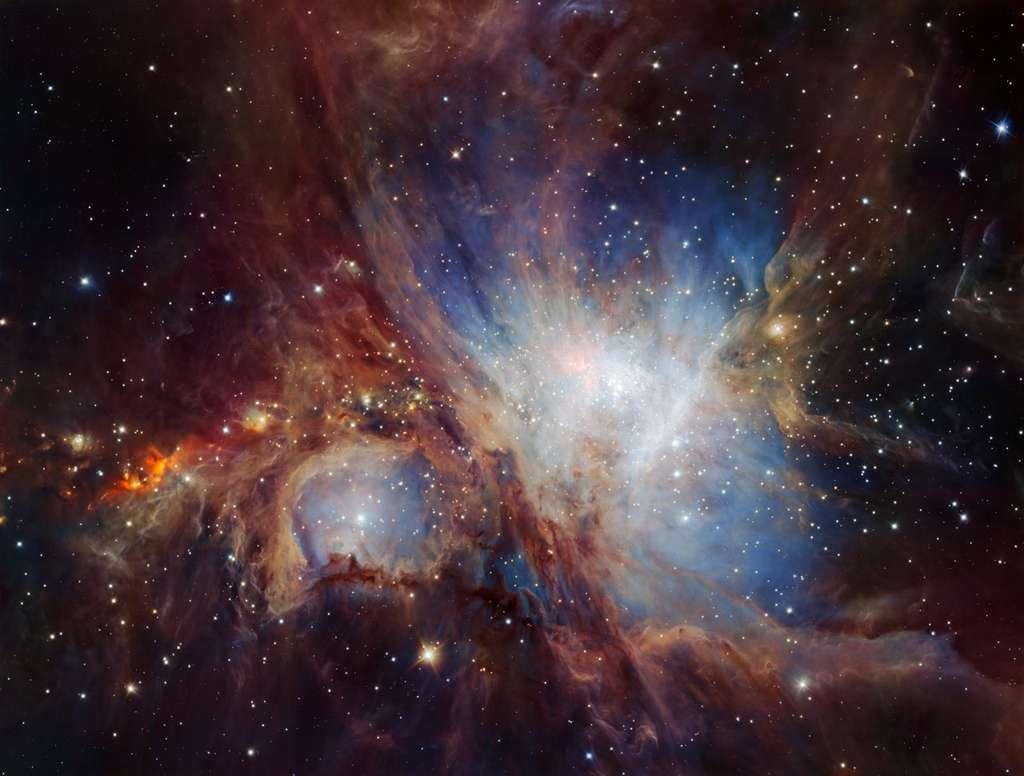 La nébuleuse d'Orion sondée en profondeur avec la caméra HAWK-1 du VLT, au Chili. © ESO, H. Drass et al.