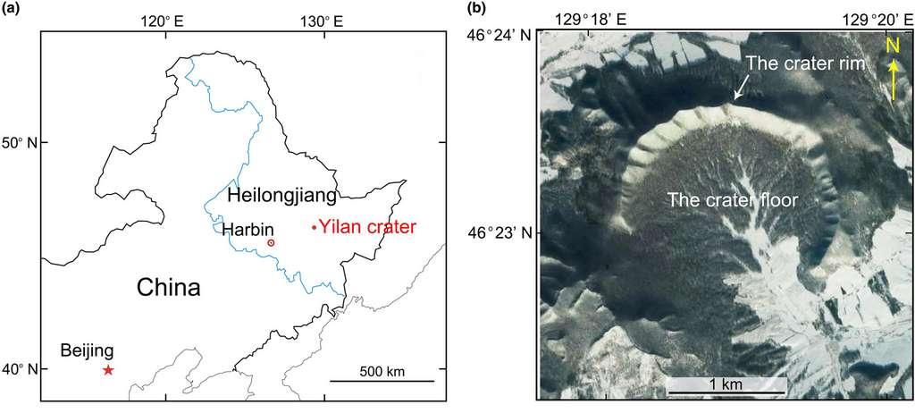Le cratère de Yilan est situé dans la province du Heilongjiang au nord-est de la Chine. © Ming Chen et al., Meteoritics & Planetary Science, 2021