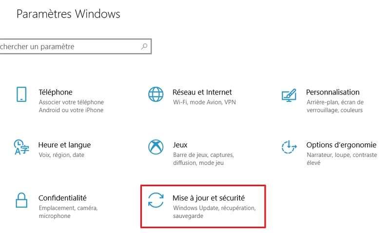 Cliquez sur « Mise à jour et Sécurité » dans les paramètres Windows. © Microsoft