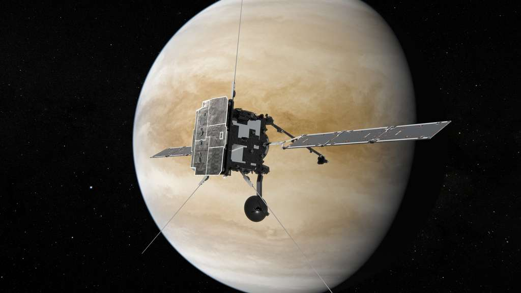 Vue d'artiste de Solar Orbiter survolant Vénus. © ESA/ATG medialab
