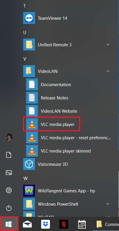 VLC se trouve dans le dossier VideoLAN du menu « Démarrer » de Windows. © VideoLAN Organization