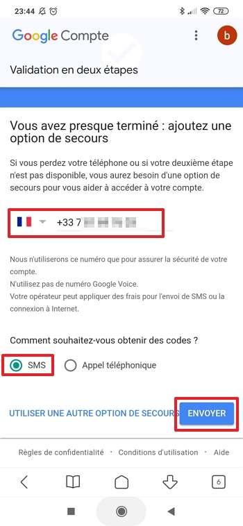 Entrez le numéro de téléphone sur lequel vous voulez recevoir les codes en cas d'oubli ou perte de votre smartphone. © Google Inc.
