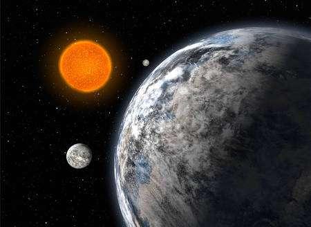 Vue d'artiste du trio de superterres découvert par une équipe européenne en utilisant le spectrographe Harps sur le télescope de l'ESO de 3,6 m à La Silla, au Chili, après cinq années d'observations. Les trois planètes ont respectivement 4,2 ; 6,7 et 9,4 fois la masse de la Terre et bouclent des orbites autour de l'étoile HD 40307 avec des périodes de 4,3 ; 9,6 et 20,4 jours respectivement. © ESO