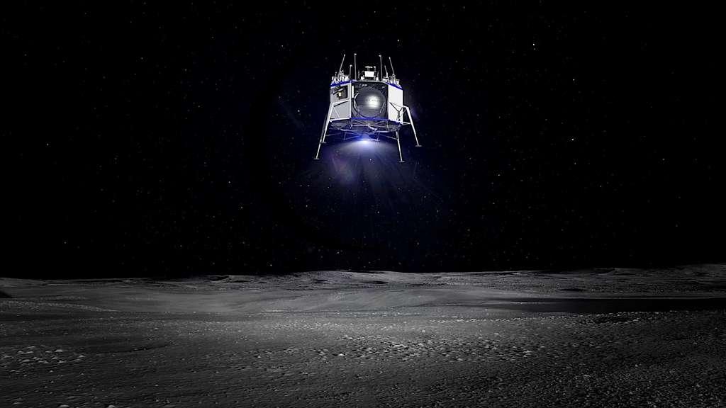 L'atterrisseur Blue Moon Lander dévoilé par Jeff Bezos. © Blue Origin