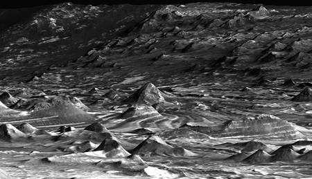 Cliquez pour agrandir. Candor Chasma l'un des plus grands canyons composant le fameux Valles Marineris. Crédit Nasa/JPL/University of Arizona