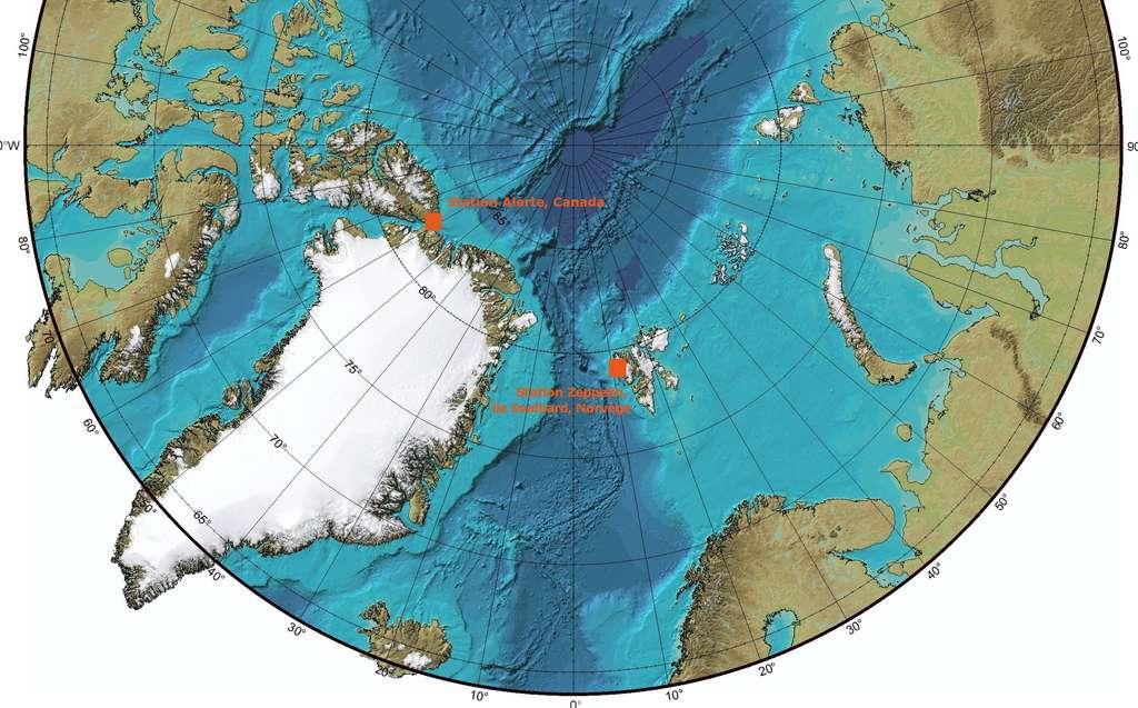 Les deux stations où les mesures ont été effectuées : Alert, au nord du Canada et Zeppelin sur l'île de Svalbard. © Bruno Scala/Futura-Sciences