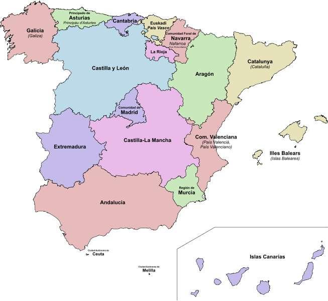 Un voyage en Espagne permet de découvrir autant de régions pleines de charme comme l'Andalousie, au sud (Andalucia sur la carte), et la Catalogne, au nord-est (Catalunya sur la carte). © Emilio Gómez Fernández, CC by-sa 3.0