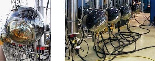 L'unité de base du détecteur est un module optique constitué d'un photomultiplicateur, de divers appareils et de l'électronique associée. L'ensemble est installé dans des sphères de verre résistant à la pression (250 bars). © DR