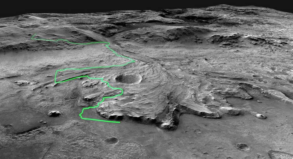 Le chemin probable qu'empruntera Perseverance. © Nasa, JPL-Caltech