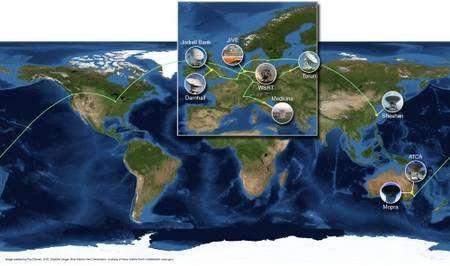 En tout, huit radiotélescopes (cinq européens, deux australiens et un chinois) peuvent actuellement fonctionner ensemble. © Paul Boven/Jive
