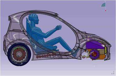 Dans le coffre avant, une pile à combustible (l'élément violet) et un réservoir d'hydrogène de un litre (le cercle violet, au niveau des roues). Au niveau de chaque roue, un moteur électrique. Voilà l'Urban Car, 350 kilogrammes sur la balance. © Riversimple