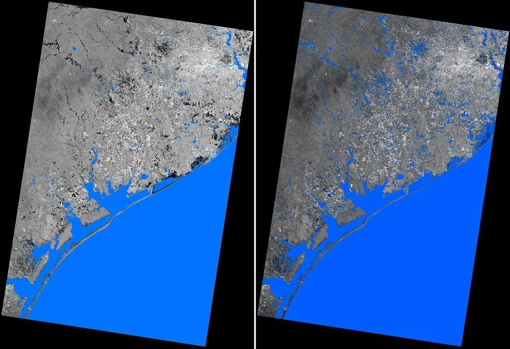 Deux images prises par le satellite radar TerraSAR-X avant et après Harvey. Celle de droite date du 28 août. Elles couvrent une superficie de près de 67.000 km2, montrant la zone côtière qui va de Houston à Corpus Christi. © DLR e.V. 2017 and Airbus Defence and Space GmbH 2017