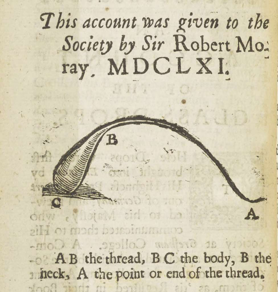 Illustration d'une goutte du prince Rupert extraite de Account of the Glass Drops (1661), par Sir Robert Moray. © Sir Robert Moray, Royal Society