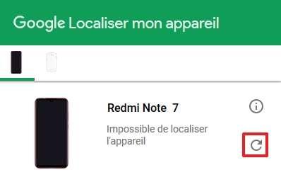 Cliquez sur la flèche circulaire pour faire une nouvelle tentative de localisation. © Google