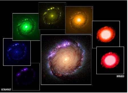 Figure 11 : Cette figure montre l'évolution de la forme de la galaxie NGC 1512 de l'ultraviolet (en bas et à gauche) à l'infrarouge (en bas et à droite). Seules les étoiles jeunes et massives sont visibles en ultraviolet, ce qui produit une forme très irrégulière. Dans le visible, les étoiles de masse intermédiaire du disque et du bulbe laisse apparaître la classique forme spirale. Dans l'infrarouge, les étoiles rouges du bulbe sont prédominantes.